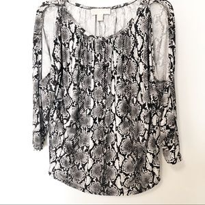 Michael Kors Snakeskin Cold Shoulder Top M